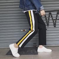 2018春季新款GD风时尚休闲宽松韩版直筒织带男士休闲裤运动男裤子
