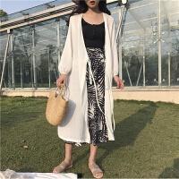 防晒衣女中长款2018夏季度假旅游柔美雪纺开衫长袖空调衫蕾丝宽松 白色 均码