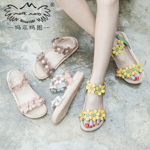 玛菲玛图女夏凉鞋子2018新款舒适中跟百搭学生真皮平底花朵罗马鞋817-32