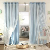 韩式窗帘成品客厅卧室纯色蕾丝飘窗落地遮阳全遮光窗帘布