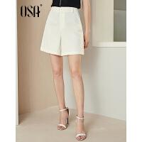 【过年3折价:90.4】OSA欧莎2019夏装新款女装 时尚显瘦白色高腰休闲短裤