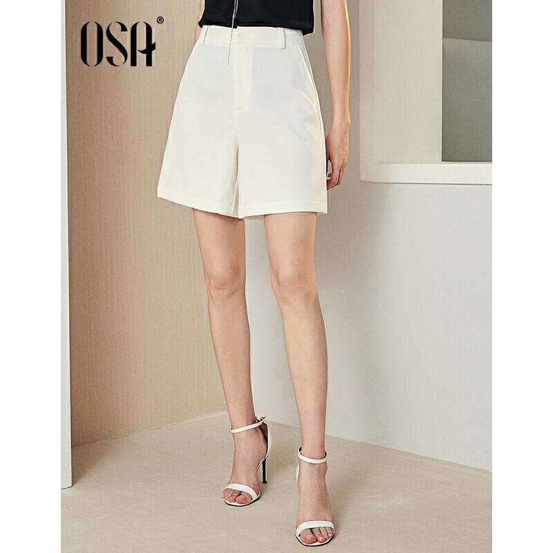 【过年3折价:90.4】OSA欧莎2019夏装新款女装 时尚显瘦白色高腰休闲短裤 过年不打烊,满2件3折,回复不及时可加wx:17322239873咨询