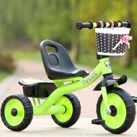 儿童三轮车脚踏车小孩单车1-3-5-2-6岁大号手推车男女宝宝自行车 荧绿 大s经典绿色