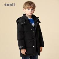 安奈儿童装男童羽绒服中长款连帽可拆冬装新款休闲外套厚款潮