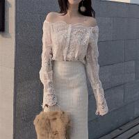 春季一字领露肩小吊带 chic两件套上衣 蕾丝衫长袖女新款秋冬