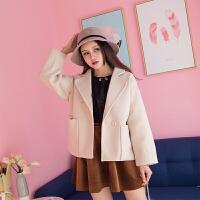 【35】冬季新款纯色西装领直筒宽松短款毛呢外套