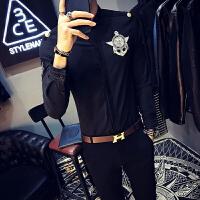 青少年衬衫男长袖春季新款空少制服夜店个性潮流帅气肩章工装