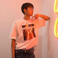 短袖男潮牌t恤2018夏季潮流人物印花时尚欧美风休闲半截袖打底衫