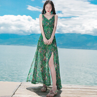 夏季女装新品v领无袖吊带雪纺长裙连衣裙波西米亚海边度假沙滩裙 绿色 XZC362
