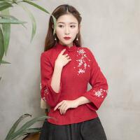 春装女唐装女茶人服茶艺师服装女中国风春装日常长袖丝绒旗袍上衣