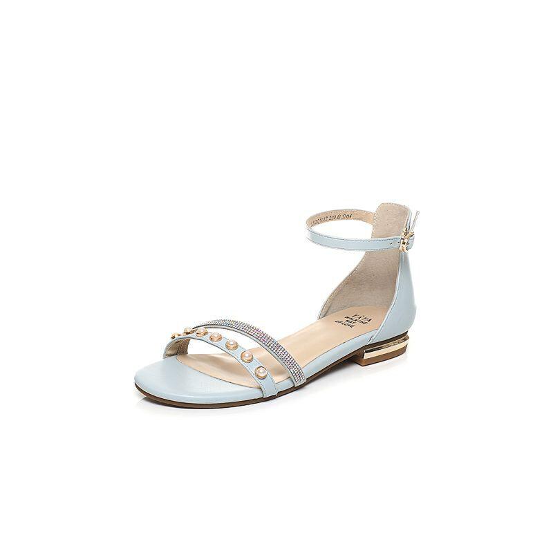 Tata/他她2017年夏季水钻珍珠时尚绑带女皮凉鞋2QV12BL7