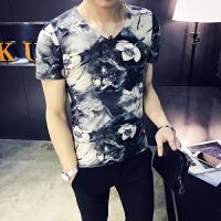 中国风男装短袖男恤印花夜店丝光棉体恤夏装霸气汗衫半袖男