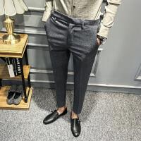 新款秋季男装英伦风男士修身韩版时尚休闲裤长裤潮流个性暗格潮发