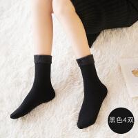 中筒袜加绒加厚短袜季保暖羊毛袜子女肉色长袜高腰雪地袜短丝袜 均码