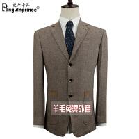 男士西服单件上衣棕色条纹羊毛l料中年休闲加厚外套免烫单西四季