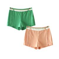 女装夏装新 简约风撞色拼接侧拉链直筒裤短裤休闲裤女
