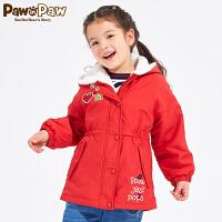 【3件3折 到手价:359】Pawinpaw卡通小熊童装冬女童中长款棉服中小童保暖连帽
