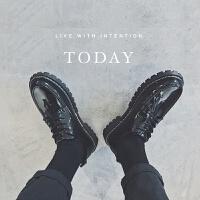 DAZED CONFUSED 潮牌港风复古男士漆皮低帮皮鞋休闲鞋增高鞋