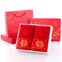 竹纤维大红百年好合方格粉色毛巾礼盒装结婚喜字婚庆回礼 74x34cm