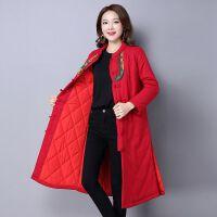 冬装新款原创设计民族风棉麻长款女装棉衣外套中式风衣冬