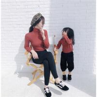 母女装毛衣秋冬款2018新款潮韩版洋气亲子高领打底衫母子装针织衫