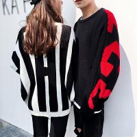 新款情侣装秋装2018男女韩版宽松时尚套头毛衣蝙蝠袖针织衫个性潮