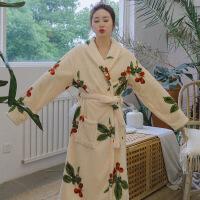 情侣法兰绒睡袍女秋冬季珊瑚绒浴袍男士加厚加长款浴衣睡衣 是均码
