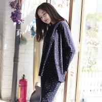 韩版纯棉睡衣女士长袖薄款春秋季可爱全棉女款休闲家居服套装春天 深蓝色 9004深蓝色