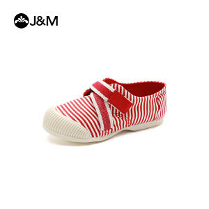 【低价秒杀】jm快乐玛丽春季新品时尚条纹童鞋魔术贴复古男女亲子鞋