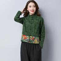 2018春秋大码女装中国风短款提花外套复古民族风绣花上衣女