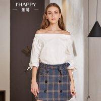 海贝2018春装新款女装 纯棉露肩一字领七分袖套头白色衬衫小衫