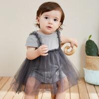 【3折价:36】迷你巴拉巴拉婴儿纯棉连衣裙夏季新品假两件宝宝短袖薄款裙子