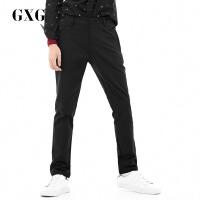 GXG休闲裤男装 秋季男士修身时尚潮流青年都市商务黑色休闲裤男