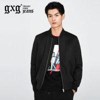 gxg.jeans男装秋季休闲黑色修身棒球服印花青年夹克外套63621102