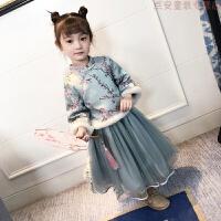 童装女童连衣裙2018新款中国风旗袍裙洋气宝宝加厚冬装儿童套装