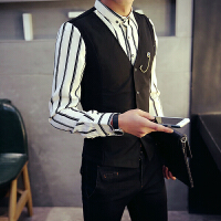 条纹长袖衬衫男 韩版修身英伦寸衣马甲青年发型师假两件衬衣