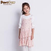 【2件3折 到手价:209】Pawinpaw卡通小熊童装秋女童长袖假两件荷叶边蛋糕裙萌