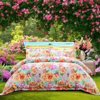 【年货直降】富安娜家纺 淡雅花卉纯棉磨毛床上用品四件套 全棉1.5/1.8m床适用床单被罩