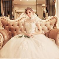 媛菲莎妮婚纱礼服2018冬季新款新娘韩版加厚保暖婚纱立领齐地大码 象牙白