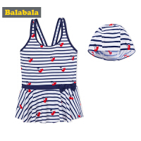 【4折到手价:55.6】巴拉巴拉儿童泳衣女童连体裙式夏装2018新款中大童游泳衣泳帽泳装