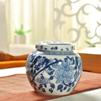 旅行茶叶罐 小号青花瓷药粉 茶罐陶瓷密封罐迷你 便携