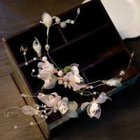 森系甜美边花发箍花朵耳饰影楼新娘粉红仙仙发饰头饰