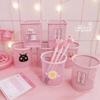 笔筒创意时尚韩国小清新可爱学生多功能桌面摆件梳子化妆刷收纳筒