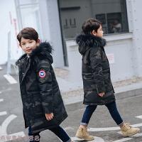 冬季儿童羽绒服男童2018新款大童加厚中长款迷彩童装秋冬新款 黑色 迷彩