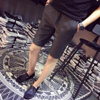 2018夏天条纹休闲短裤男士五分裤潮牌韩版修身夏季西裤七分中裤子