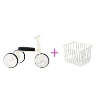 儿童三轮车脚踏车小孩自行车简约无印宝宝推杆手推童车1-3岁 (简约白)【无推杆】 送
