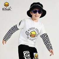 【4折价:107.6】B.duck小黄鸭童装 男童长袖T恤 春季新款儿童新潮上衣BF3006903