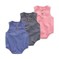 新生儿衣服夏季 婴儿外出服连体衣 婴幼儿无袖纯色衣服