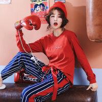 猪年睡衣女秋冬季纯棉长袖套装韩版女士春秋甜美本命年红色家居服 2918 X
