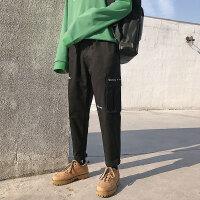 文艺男韩版男士裤子冬季潮流休闲裤韩版潮牌哈伦裤宽松工装裤